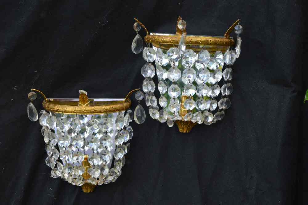 Century Purse Wall Lights with accanthus leafs