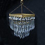 Small 3 Tier Edwardian Square Icicle Drop Chandelier
