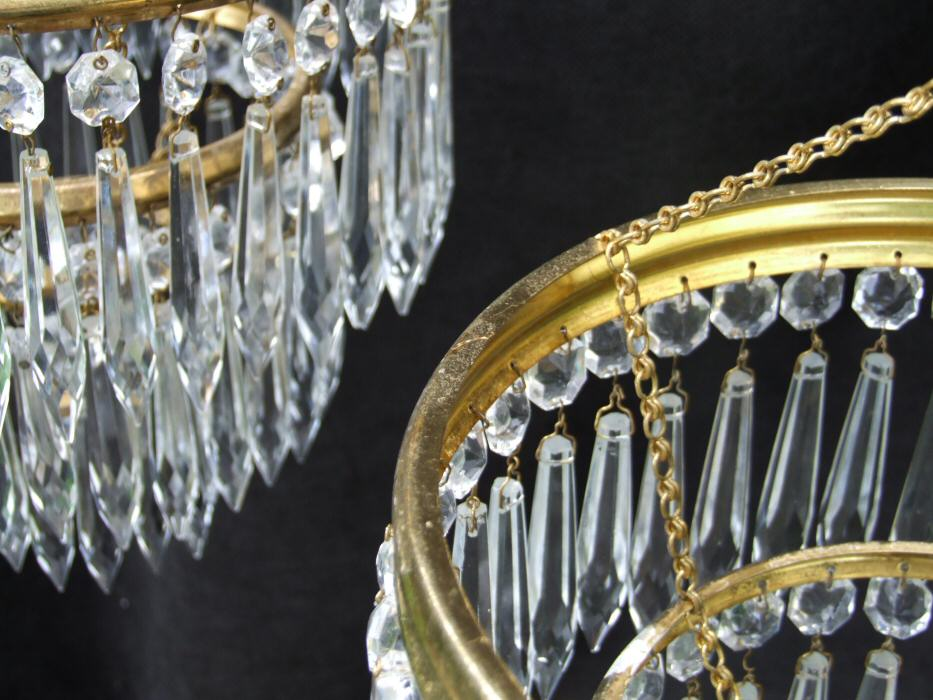 Pair of Mid 20th Century Icicle Drop Chandeliers