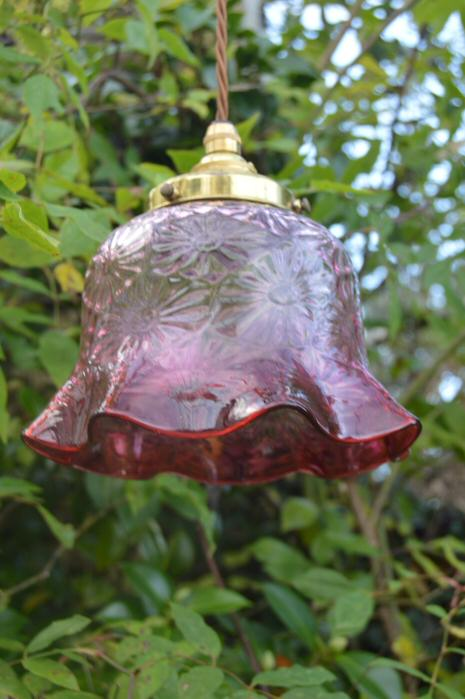Circa 1930 Cranberry Ceiling Light