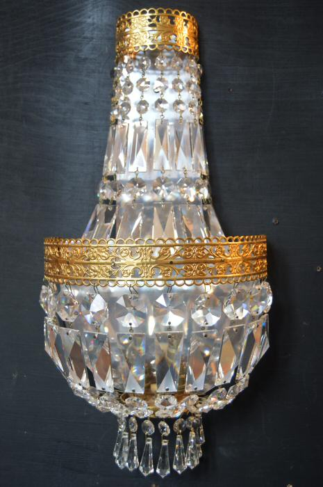Set of 3 Very Large Crystal Purse Wall Lights