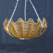 Dark Amber Art Deco Shell Ceiling Light