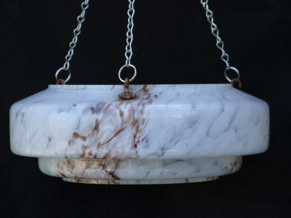 Mottled White and Chocolate Art Deco Ceiling Light