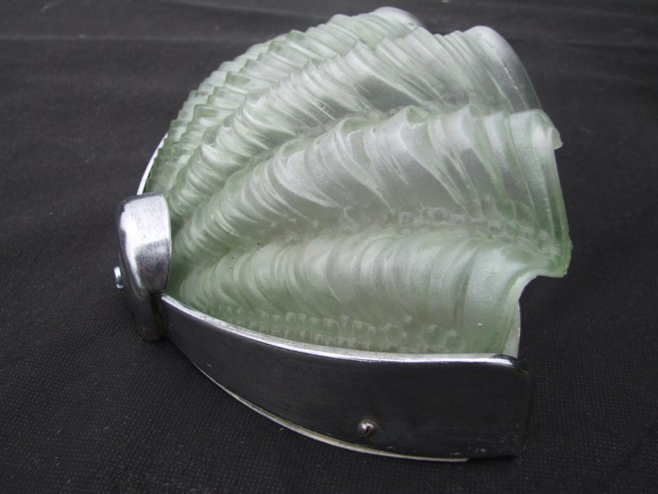 Pair of Soft Green Art Deco Shell Wall Lights