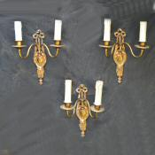 A Set of 3 Double Arm Cast Brass Wall Lights