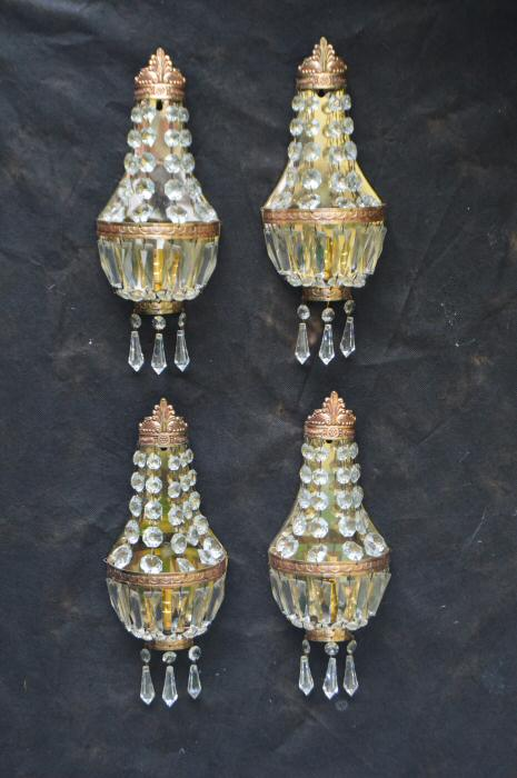 Set of 4 Antique Sac a Perles Wall Lights