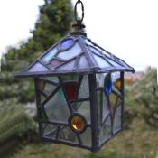 1930 pretty stain glass lantern