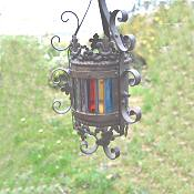 Petite Cylindrical Victorian stain glass Lantern
