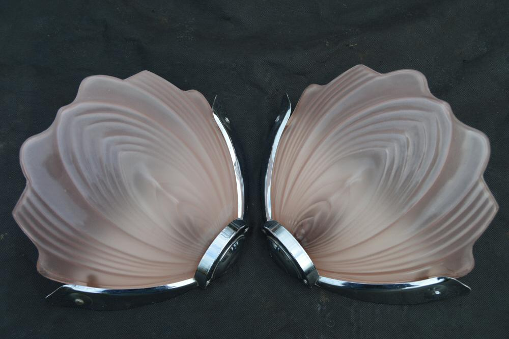 Pair of Soft Pink Art Deco Petal Wall Lights