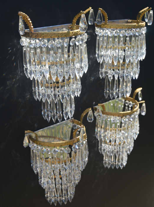 Set of 4 Mid 20th Century Icicle Drop Wall Lights