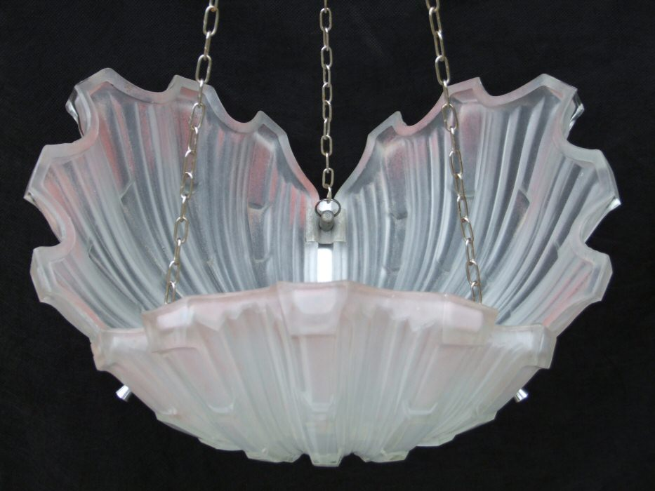 Art Deco Pink Shell Ceiling Light