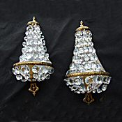 Pair of Large Antique Sac a Perles Wall Lights