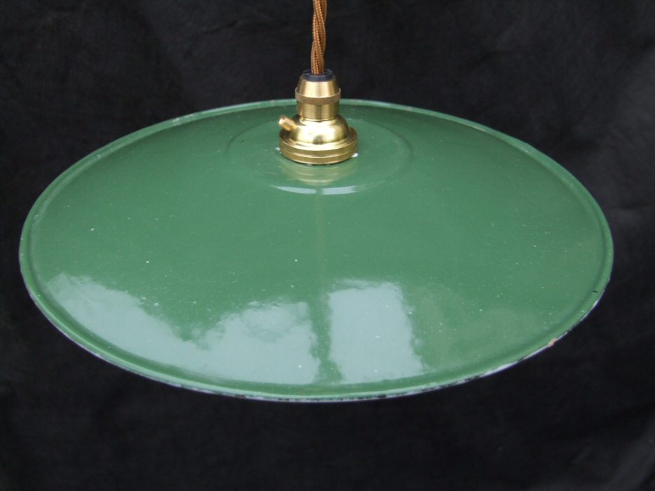 Small Edwardian Enamel Green Ceiling Light