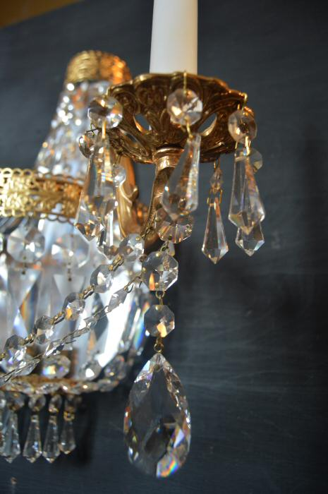 Large Crystal Twin Arm Purse Wall Light