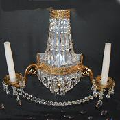 Very Large Crystal Twin Arm Purse Wall Light