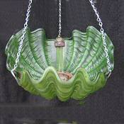 Deep Green Art Deco Shell Ceiling Light
