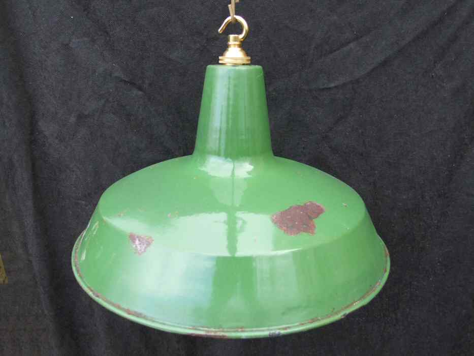 Large Racing Green Enamel Industrial style Ceiling Light