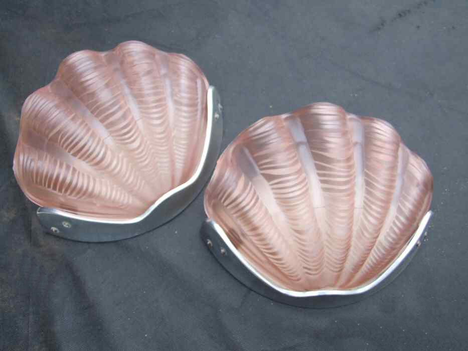 Pair of Soft Pink Art Deco Shell Wall Lights