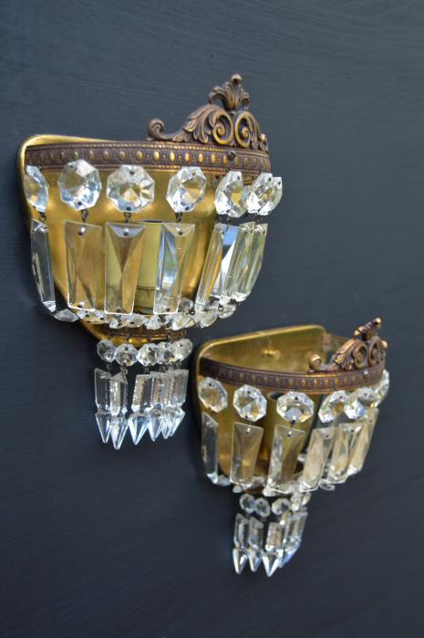 Early 20th Century Purse Wall Lights with Crown Pediment