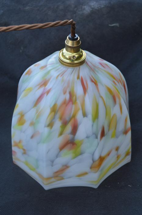 Art Deco mottled white, tangerine, yellow and green ceiling light