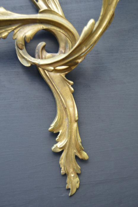 Pair of Large Double Arm Roccoco Style Cast Brass Wall Lights