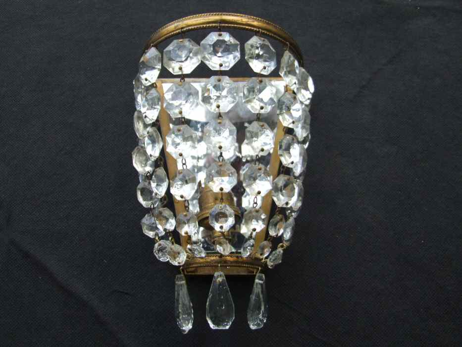 Set of 3 Edwardian Crystal Purse Wall Lights