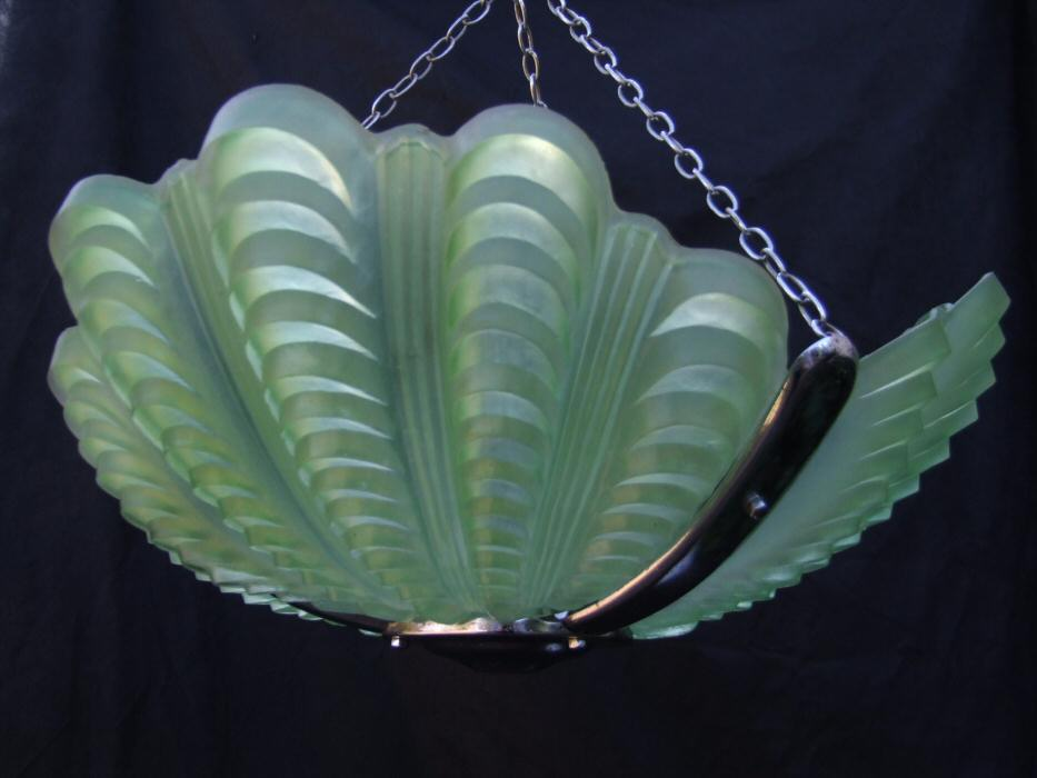 Soft Sea Green Art Deco Shell Ceiling Light
