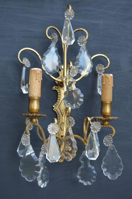 Set of 4 Large Double Arm Cast Brass Wall Lights with glass drops