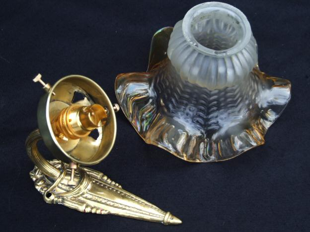 Set of 5 Edwardian Brass Wall Lights with Vaseline Shades