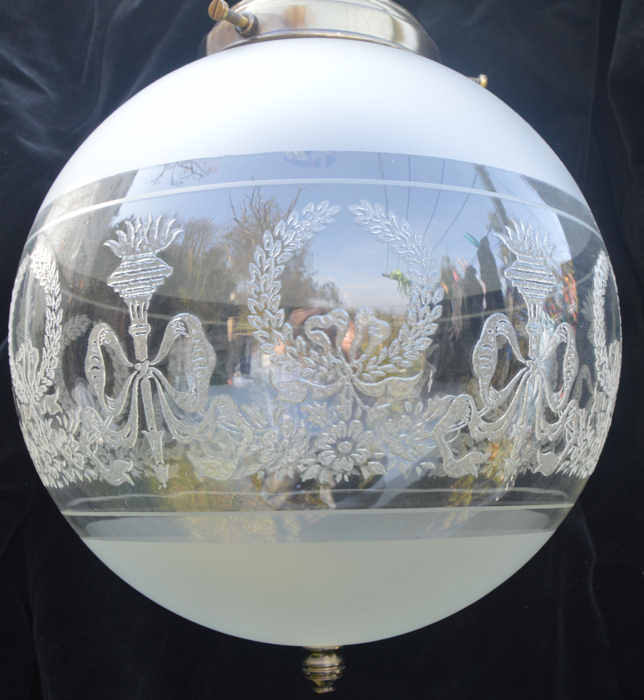 Mid/late 20th Century Etched Glass Ceiling light
