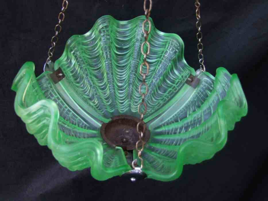 Emerald Green Art Deco Shell Ceiling Light
