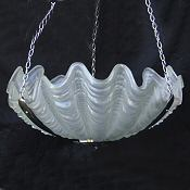 Beautiful Opaque Art Deco Shell Ceiling Light