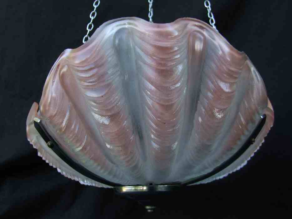 Pale Pink Art Deco Shell Ceiling Light