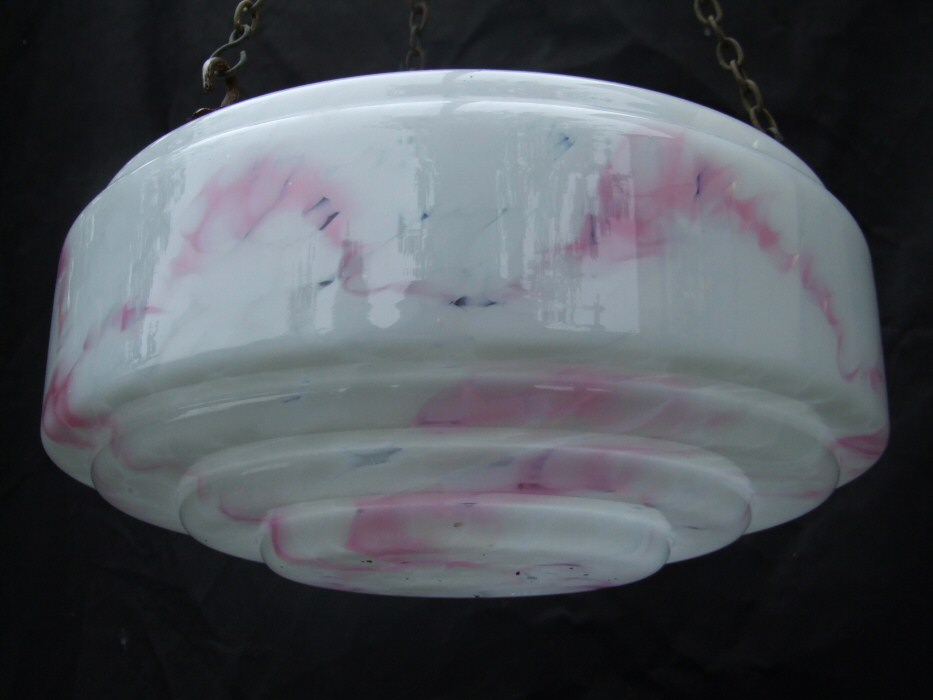 Mottled Pink Art Deco Lampshade