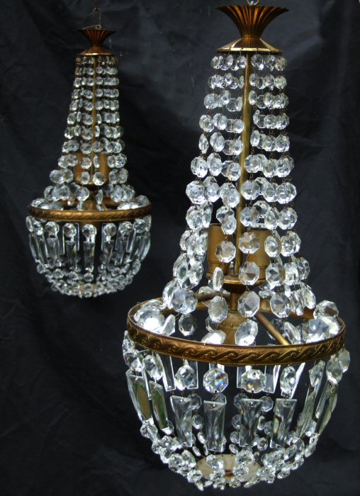 Pair of Matching Mid 20th Century Sac a Perles Chandeliers