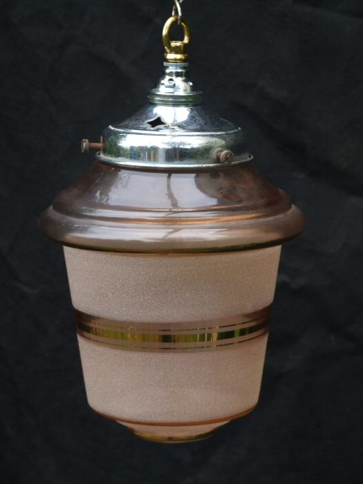 Frosted Soft Pink Art Deco Lantern
