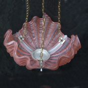 Art Deco Soft Cranberry Shell Ceiling Light