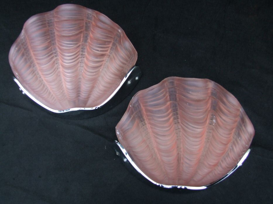 Pair of Pink Art Deco Shell Wall Lights