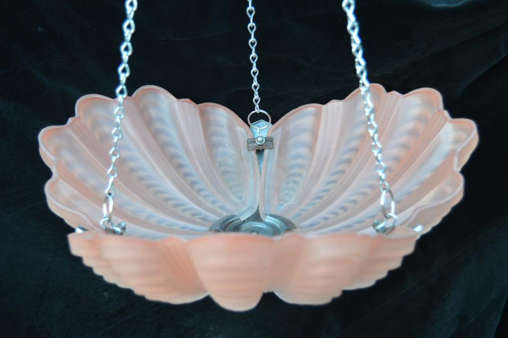 Soft Coral Art Deco Shell Ceiling Light
