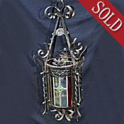 Late Victorian Cylindrical Wrought Iron Stained Glass Lantern