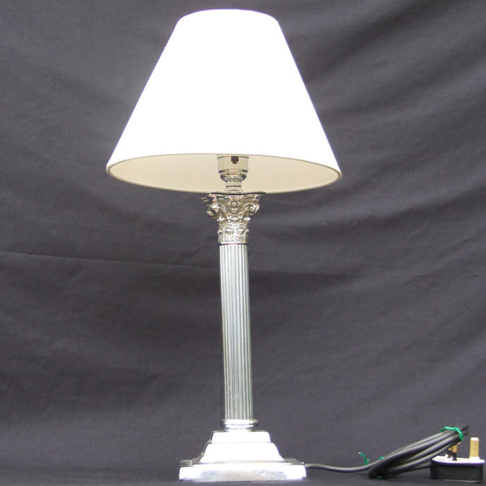 Edwardian silver plate Corinthian Column Table Lamp