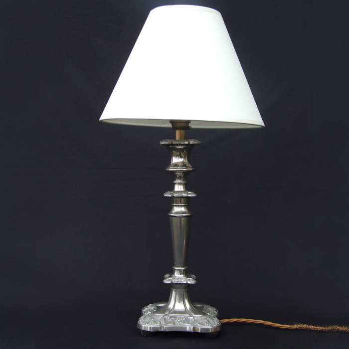 Circa Mid 20th Century silver plated lamp